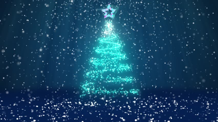 Winter theme for Christmas or New Year background with copy space. Close-Up of Xmas tree from glow shiny particles in mid-frame. Blue 3d Xmas tree V1 with snow DOF light rays rotating space