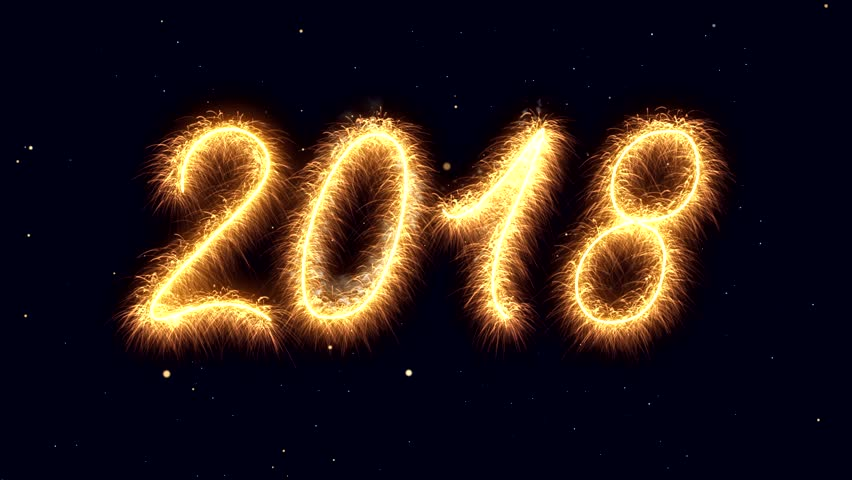 sparkler video animation of the numbers 2018