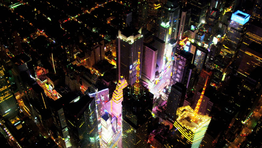 Aerial view of Times Square and Broadway illuminated at night, Manhattan, New York | Shutterstock HD Video #3243223