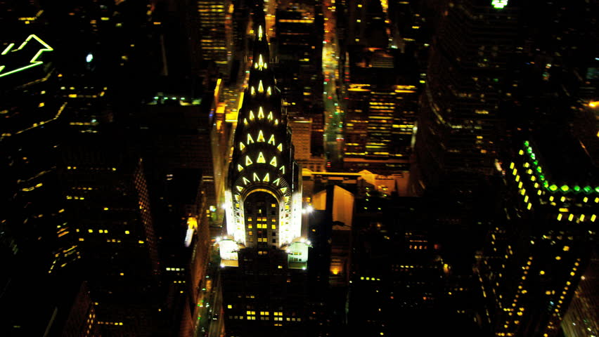 New York - August 20: Aerial illuminated Chrysler Building New York August 20, 2012, | Shutterstock HD Video #3243763