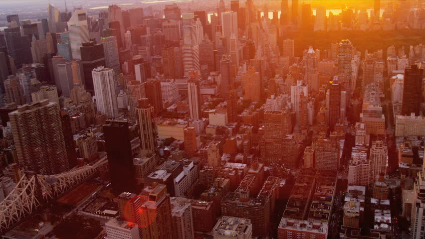 Aerial view at sunset of Central Park, Upper East and West Side Manhattan and Midtown Manhattan, New York, USA | Shutterstock HD Video #3244105