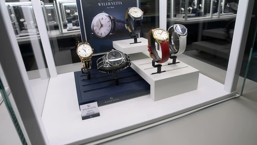 BASEL – MARCH 22: Vintage watches exhibited at Wyler Vetta booth at the watches and jewelry show Baselworld in Basel, Switzerland, on March 22, 2017  | Shutterstock HD Video #32510797