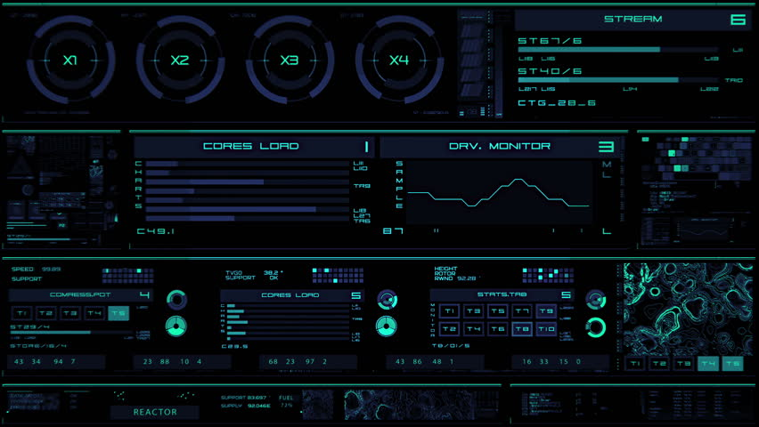 Glowing blue futuristic interface/Digital screen/Detailed abstract background. Blinking and switching indicators of command center computer,processing data, AI. | Shutterstock HD Video #32728447