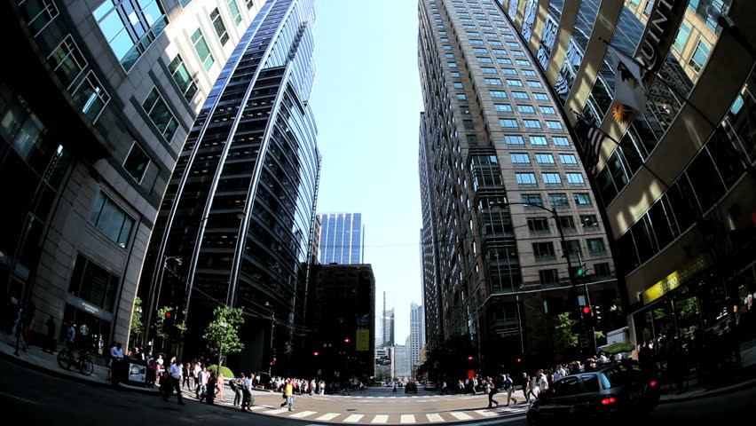P.O.V. driving traffic intersection people crossing Chicago August 18, 2012   Shutterstock HD Video #3276281