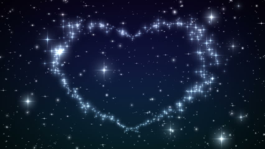 Heart made of twinkling Stars in the Beautiful night sky. Particles and Sparks in Heart Shape. HD 1080.