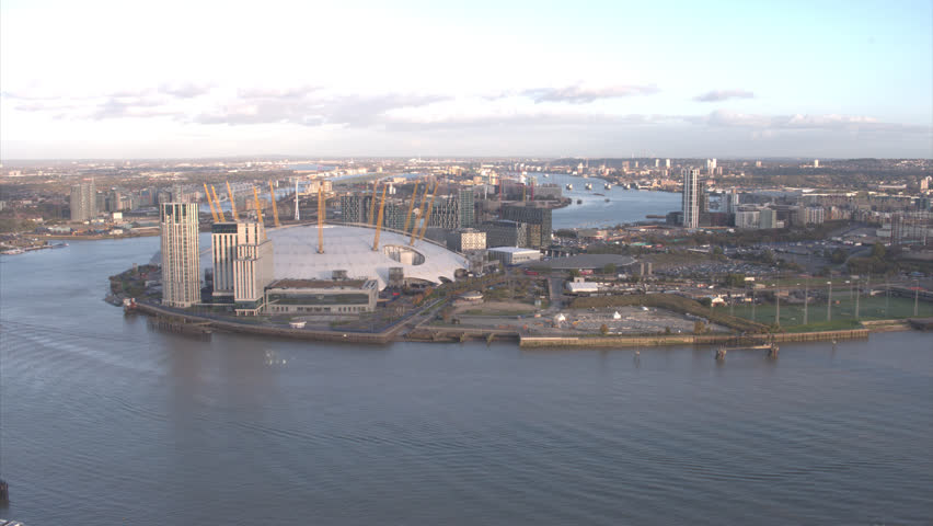 LONDON - 29 OCTOBER 2017:Gently floating daytime wide angle aerial shot of the 02 Millenium Dome London fall 2017 | Shutterstock HD Video #32825296