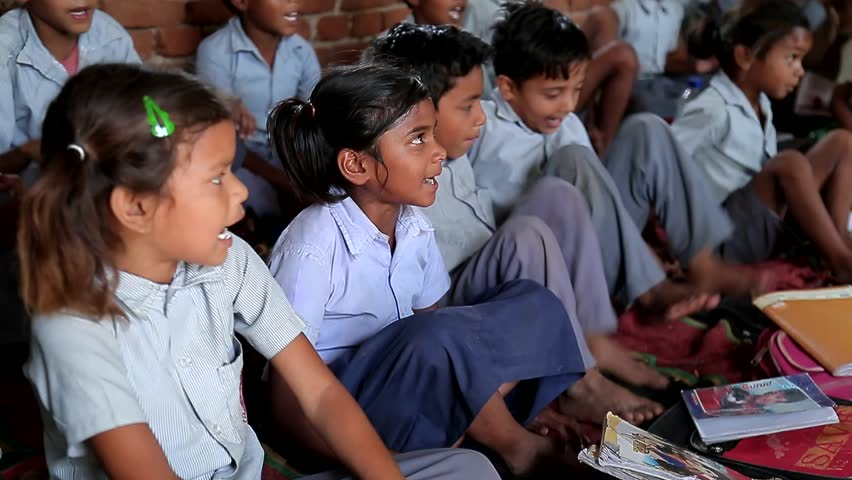 April 2016. India. Bihar: Unidentified Indian girls and boys in a local poor school during the lesson | Shutterstock HD Video #32826928