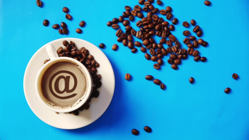 sign of email in coffee foam