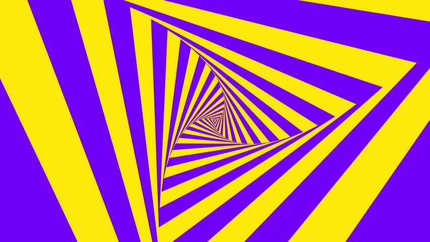 Animated hypnotic tunnel with purple and yellow stripes. Seamless loop. 4K, UHD, Ultra HD resolution. More color options available - check my portfolio.