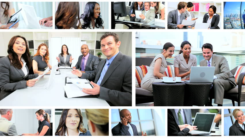 Montage collection of young Multi Ethnic business people using modern wireless tablet communication technology | Shutterstock HD Video #3323855