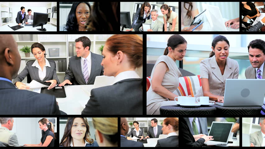 Montage collection of young Multi Ethnic business people using modern wireless tablet communication technology | Shutterstock Video #3326042