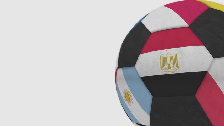 Rolling football ball featuring different national teams accents flag of Egypt. Alpha channel