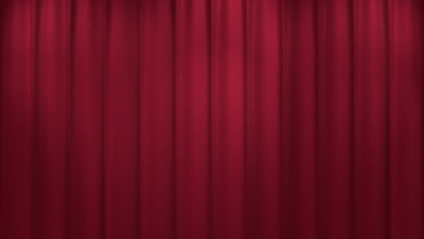 Red curtain opening. Austrian style. 3D animation with matte.