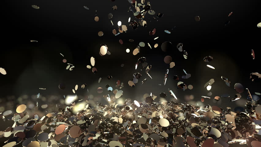 Money falling with bokeh slow motion. Golden Bitcoin coins fall and fill the screen,  Digital Money rain, Cash flow. Glitter Gold coins. Best for for winners. Casino jackpot. dynamic 3d animation.