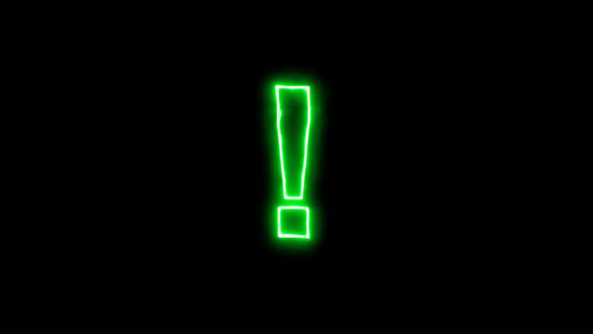 Neon flickering green symbol of the exclamation point, exclamation mark - ! in the haze. Alpha channel Premultiplied - Matted with color black | Shutterstock HD Video #33588823