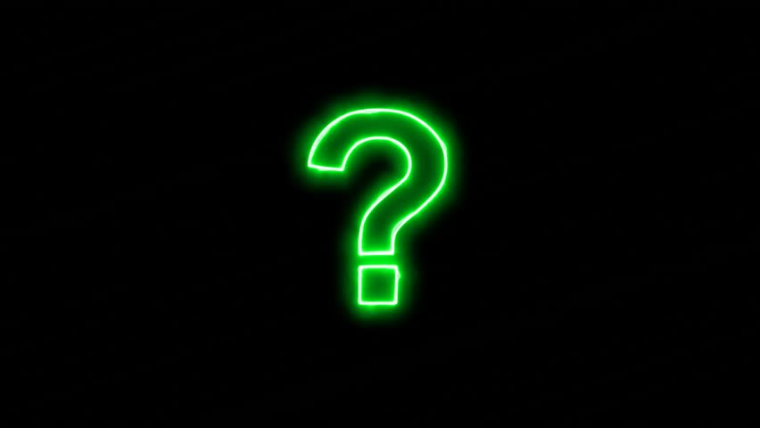 Neon flickering green symbol of the question, ? in the haze. Alpha channel Premultiplied - Matted with color black | Shutterstock HD Video #33588838