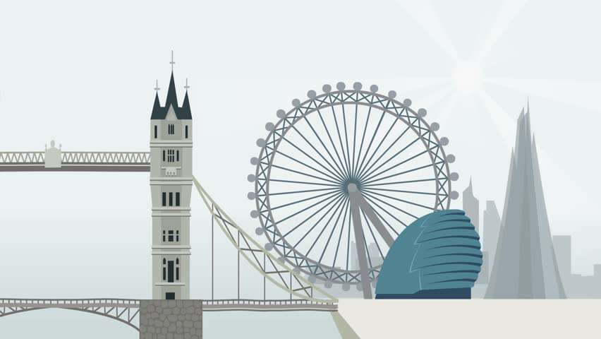 2D animation. London, Panorama with a red bus. Just drop the .mov files straight into your project.