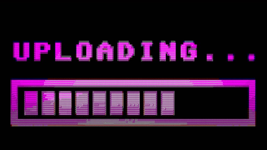 8-bit retro style uploading text with progress bar, with color hue (shift). ASCII 8 bit vintage PC terminal animation fx, of the time when computers didn't have pixel graphics.