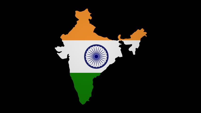 For Indian Flag Hd Animation: India Map Flag Rotating On Black Animation Stock Footage
