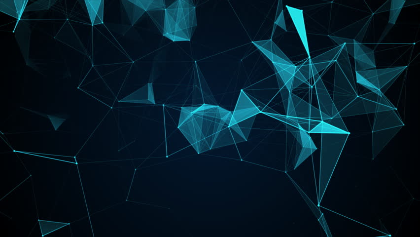 Animated abstract blue geometrical background with moving lines, triangels and dots.