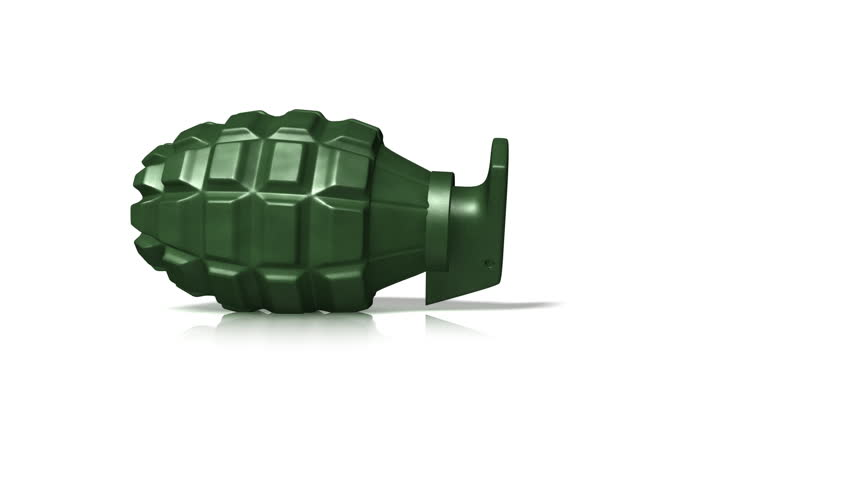 Rolling Grenade. A hand grenade, isolated on a white background, rolls toward the camera.