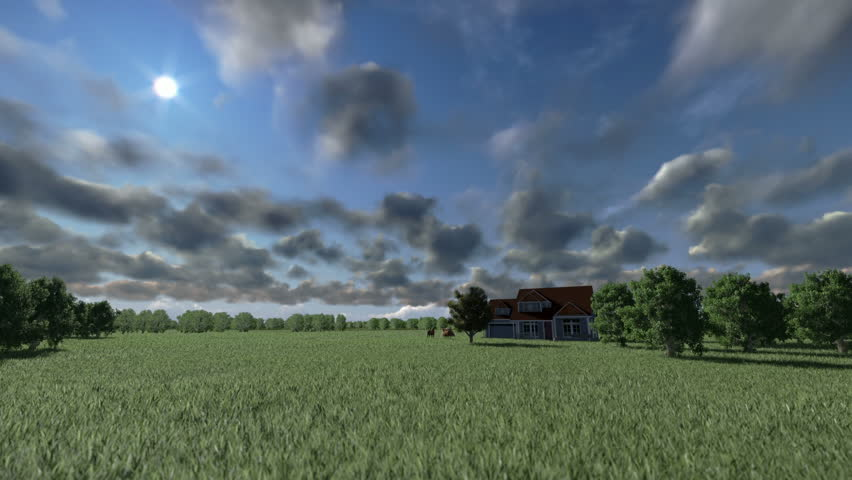 House on green meadow and horses, timelapse clouds