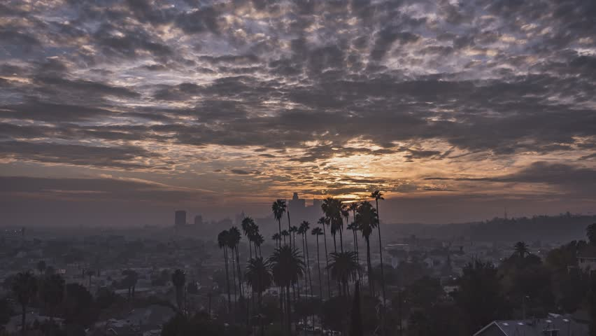 4k Timelapse of Los Angeles from Montecito Heights Palm Trees Sunset 321 pics 10 sec int 4KUHD 29.97 FPS UHD Taken 01-17-18