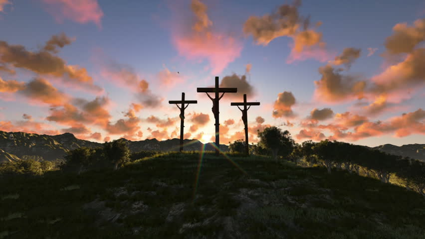 Jesus on Cross, meadow with olives, timelapse sunrise night to day