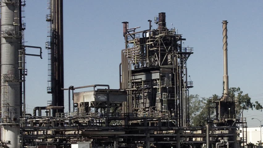 SANTA FE SPRINGS, CA - February 23, 2013: An aging oil refining tower at an old