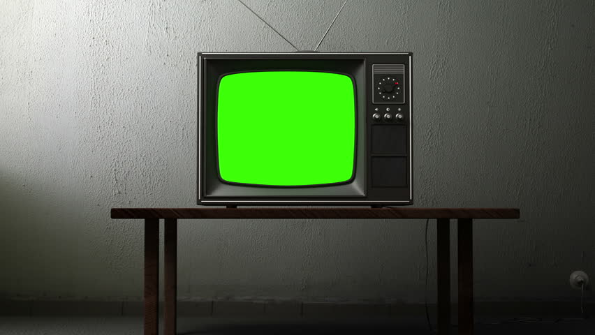 old TV with a green screen in the room, 3d animation