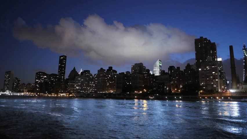 New york city nyc cityscape skyline night bridge east river view manhattan water reflection usa east coast 1080 HD district panorama view traffic areal view big city  | Shutterstock HD Video #3568175