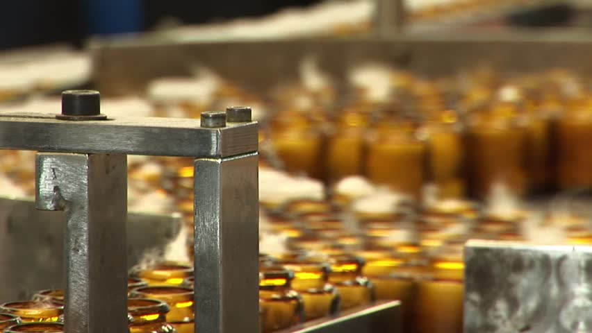 Automated production of medicines. Packaging of tablets in a glass container