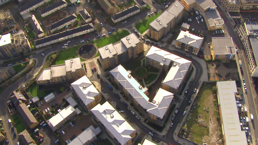 Aerial view over a residential area on the outskirts of London, England on a clear bright autumn day.