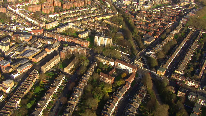 Aerial view over a residential area on the outskirts of London, England.