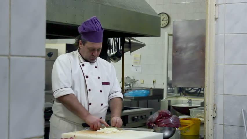 Restaurant Kitchen Video chef in the restaurant kitchen ; cook in the restaurant's kitchen
