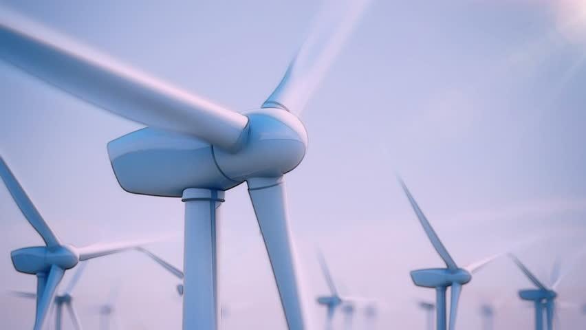 Seamless looping animation of wind turbines spinning
