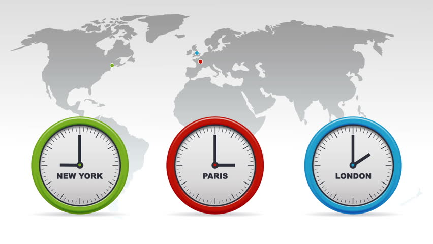 New York, Paris, London Time Zones Stock Footage Video 3649658 ...