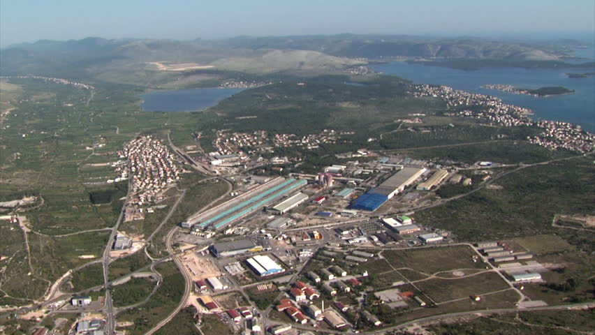Aerial shot of industrial zone on the Adriatic coast
