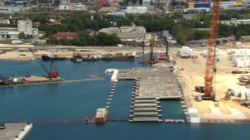 Aerial helicopter shot of a Cargo port