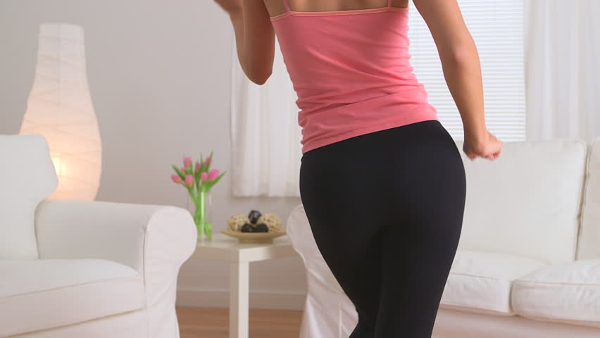 Graceful Chinese Woman Dancing In Yoga Pants Stock Footage Video ...