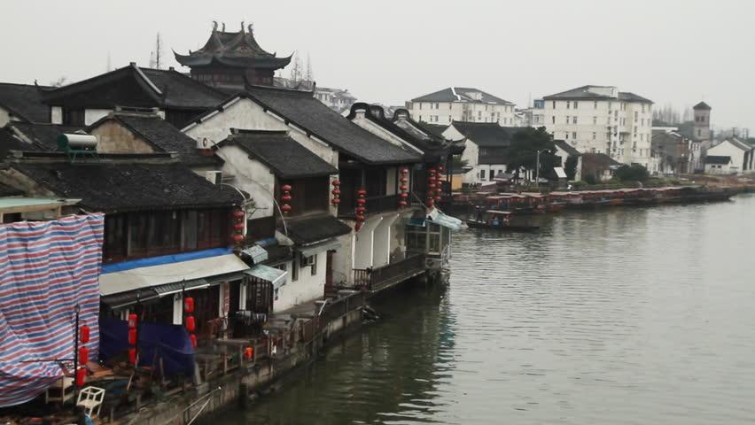 SHANGHAI - DECEMBER 20: Zhujiajiao traditional wooden boat across the river,