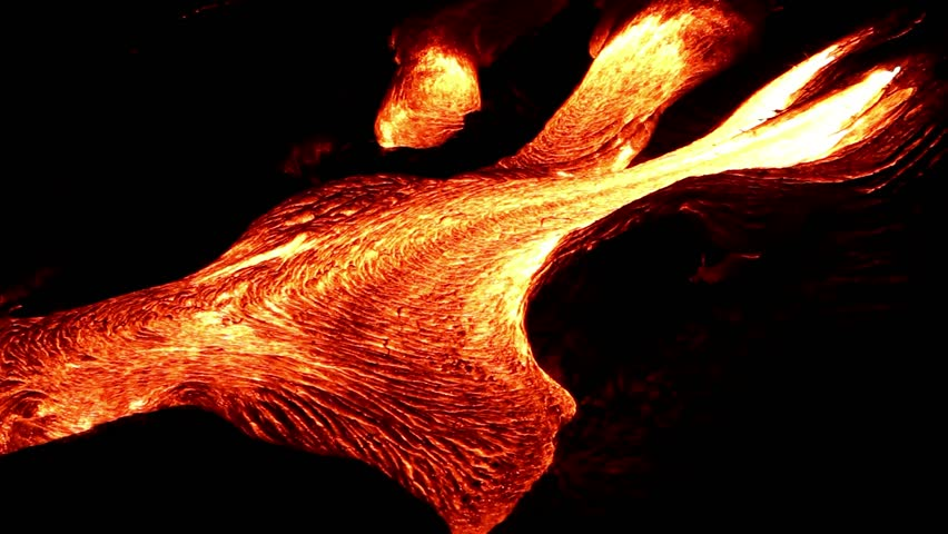 Lava flow at night in Hawaii