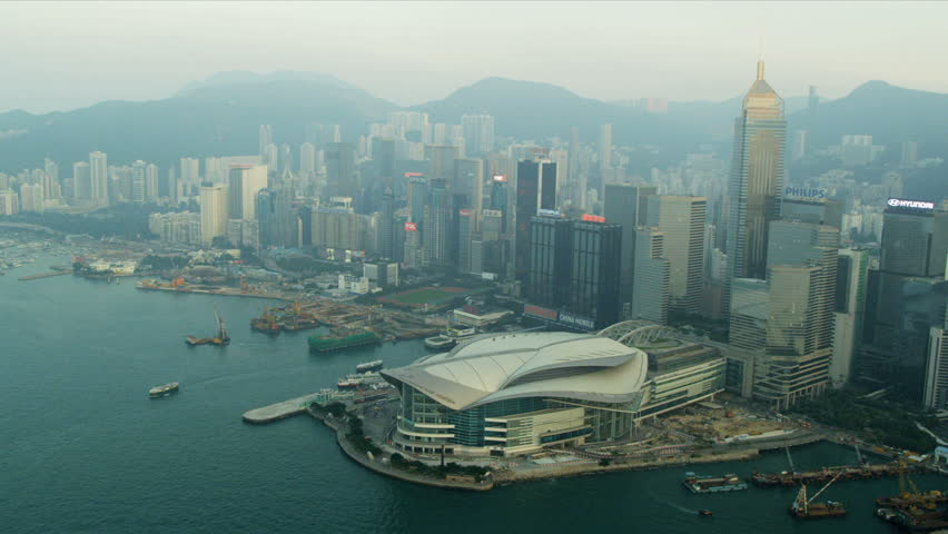 Aerial view Hong Kong Convention and Exhibition Centre Hong Kong, Asia, RED EPIC | Shutterstock HD Video #3744692
