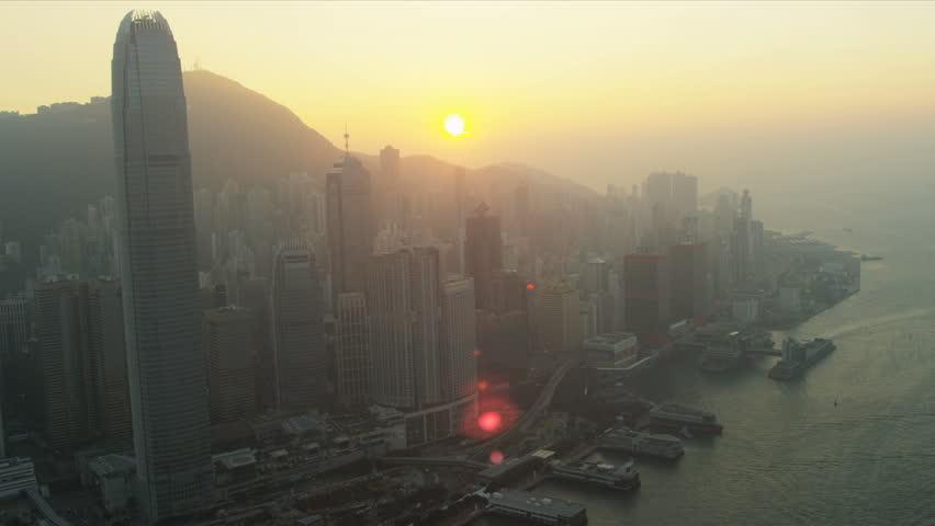 Hong Kong - November 25: Aerial sunset view of 2 IFC Victoria Peak, Hong Kong Island, Hong Kong, Asia, RED EPIC | Shutterstock HD Video #3745208