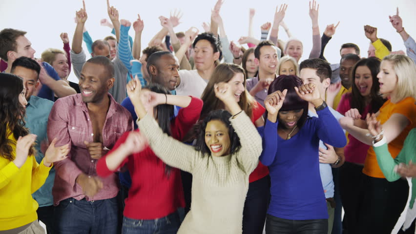 Portrait of a large and diverse multi ethnic group of people who are standing together, in brightly colored casual clothing and having fun. They are isolated on white in a studio shot. In slow motion #3812876