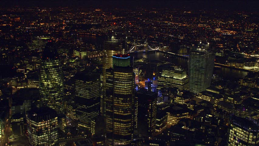 Panoramic aerial shot of The City of London at night | Shutterstock HD Video #3818057