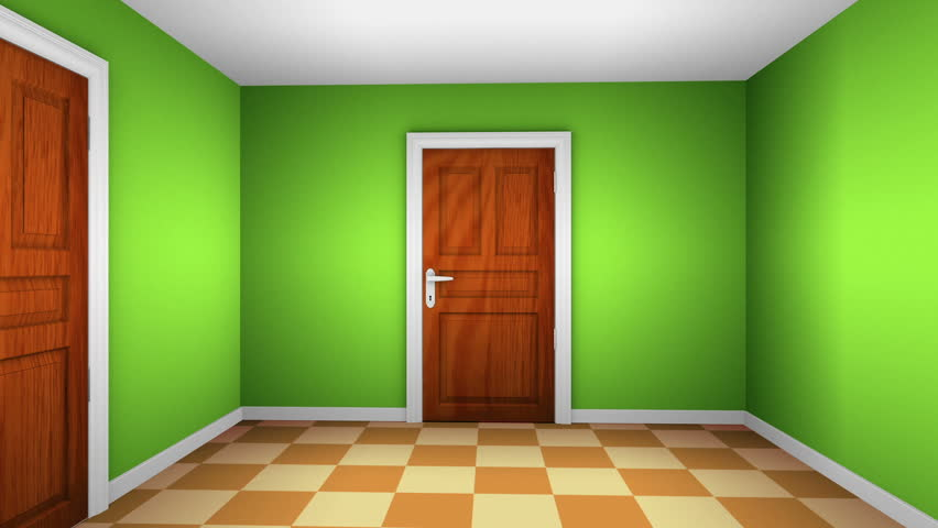 Opening Wooden Doors To A Small Empty Room In A New