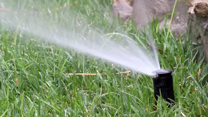 Garden Irrigation Spray Watering Lawn Stock Footage Video 3847583
