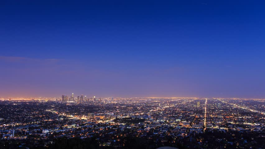 Los Angeles skyline cityscape changing from dusk to night. Timelapse. | Shutterstock HD Video #3863228
