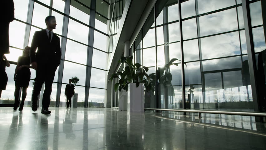 Time lapse of a large group business people moving around a large, open plan, glass fronted office building. The interior panels of glass are reflecting the clouds outside as they move across the sky. | Shutterstock Video #3870671